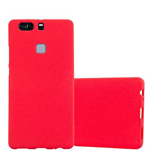 Cadorabo Funda para Huawei P9 Plus en Frost Rojo - Cubierta Proteccíon de Silicona TPU Delgada e Flexible con Antichoque - Gel Case Cover Carcasa Ligera