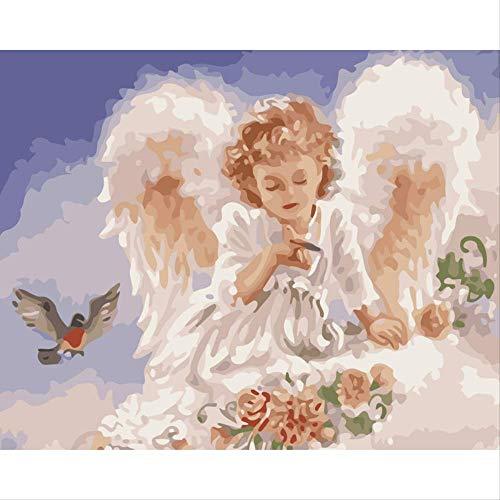 DIY digitale olieverfschilderij door cijfers, op het canvas mooie engel meisje van de schilderijen, Home Decor muurschildering 40 * 50cm