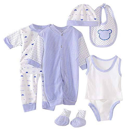 0-12 Meses,SO-buts 8pcs Recién Nacido Niño Bebé Niña Otoño Invierno Hospital Tops + Sombrero + Pantalones + Babero + Calcetines + Conjunto De Trajes De Mameluco