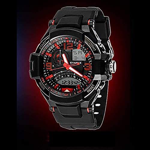 ewrwrwr Orologio Digitale analogico per Ragazzi e Ragazze Sport Digitale con cronografo con cronometro di Allarme - Orologio Sportivo elettronico Impermeabile per Ragazzi da 50 m-Rosso
