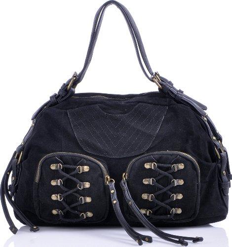 ARA Bags, Damen, Handtaschen, Shopper, Hobo-Bags, Schultertaschen, Schwarz, 38x23x15 cm (B x H x T)