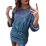 Felicove 2019 Minikleid, Sexy Glitter Rundhals Kleid Bodycon Damen Kleid Clubwear Cocktail Minikleid Elegant Festlich Asymmetrisches Partykleid Damen Abendkleid...