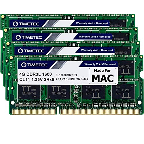 Timetec Hynix IC 16GB KIT(4x4GB) Compatible for Apple DDR3L 1600MHz PC3L-12800 for iMac(Mid 2011, Late 2012, Late 2013, Late 2014 Retina 5K, Mid 2015 Retina 5K) SODIMM Memory Upgrade MAX Slots Upgrade