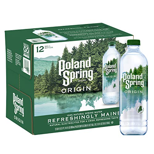 Poland Spring Origin, 100% Natural Spring Water, 900mL Recycled Plastic Bottle (12 Pack), 30.4 Fl Oz (Pack of 12)