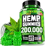 JOLLYGREEN Hemp Gummies 200,000 - Effective Anxiety & Stress Relief - Made in USA - Natural Immune Gummies - Tasty & Relaxing - Rich in Omega 3-6-9 - Great Mood Boost & Insomnia Relief - 60 PCS