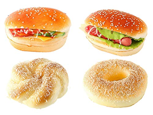 Ulalaza Fake Bread Artificial Cake PU Food Model Simulation Loaf Pretend Realistic Cupcake Dessert Props Toys for Home Kitchen Party Decoration