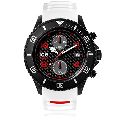 Ice-Watch - ICE carbon White Black - Men's wristwatch with silicon strap - Chrono - 001315 (Extra large)