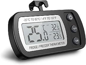 Termómetro digital para refrigerador, Termómetro para congelador a prueba de agua con gancho, Pantalla LCD fácil de leer, Función de registro máximo/mínimo, Ideal para el hogar, restaurantes, cafés