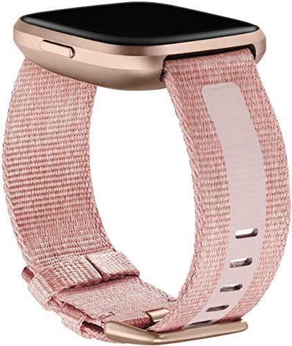 Gewebe-Zubehörarmband für Fitbit Versa 2, Rosa, groß