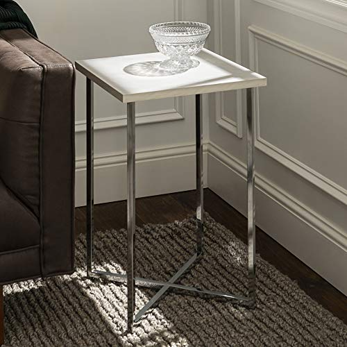 Walker Edison Furniture Modern Square Side End Accent Table Living Room, 16 Inch, White Marble, silver