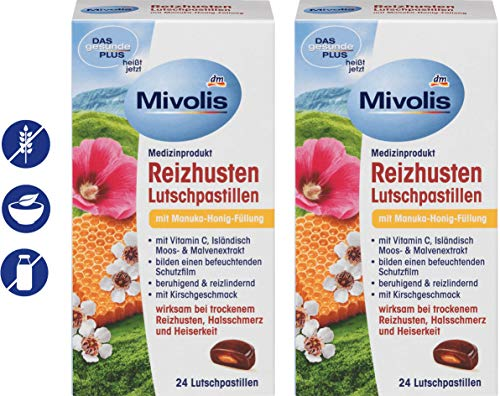 MIVOLIS COUGH LOZENGES with MANUKA HONEY, VITAMIN C, MALLOW and ICELANDIC MOSS 2 packs x 24 pcs. - COUGH DROPS | Germany