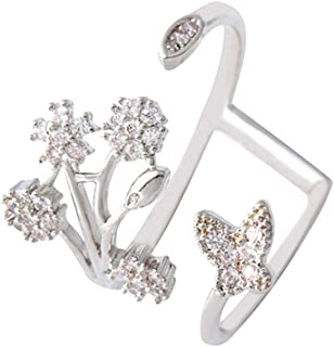 Occitop Women Irregular Snowflake Butterfly Open Knuckle Rings Jewelry (Silver)