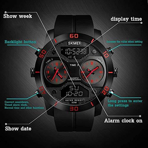 Reloj multifunción para hombre, para exteriores, con función de alarma, indicador luminoso, sistema de 12/24 horas, color rojo y azul