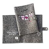 U-Heft Hülle aus Wollfilz mit Tasche für Impfpass *** Wäscheleine *** Mädchen - Mit Name und Geburtsdatum - 100% Wollfilz-
