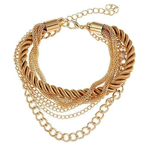 Onefeart Unedles Metall Armband Für Frauen Mädchen Bohemien Stil Mehrschichtig Metallkette Design 17CM Braun