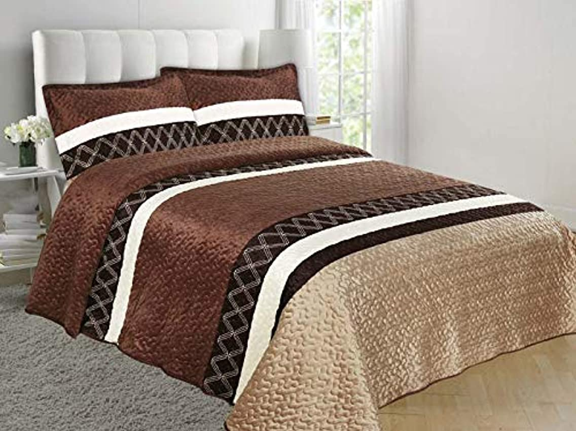 Jenin/WPM Super Soft Velvet Feel Reversible Quilted Bedspread Coverlet Diamond Printed Bed Cover Set (Chocolate, King)