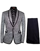 Cloud Style Men Notched Lapel Center-Vent One-Button Blazer Suits Jackets  and  Trousers X-Large Silver