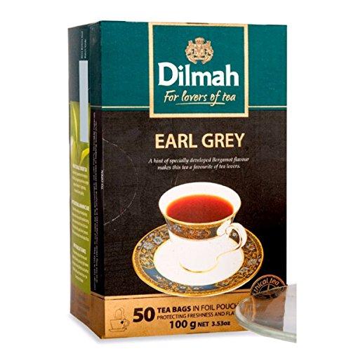 Dilmah Earl Grey Tea - Feinster reiner Ceylon-Schwarztee mit Bergamottengeschmack-Box Sri Lanka Dilmah-Teebeutel im Folienbeutel - 50 Teebeutel 100g (3,53 oz)