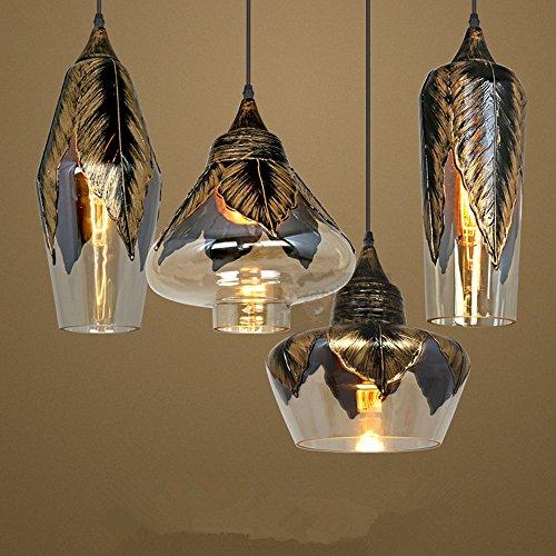 Licht Europäischer Stil Retro schwarzer Gold Glas Kronleuchter Nordic Eisen Blätter Laternen Licht Restaurant Lichter Bar Lichter Cafe Hängelampe ,E27 (Kombination von vier)