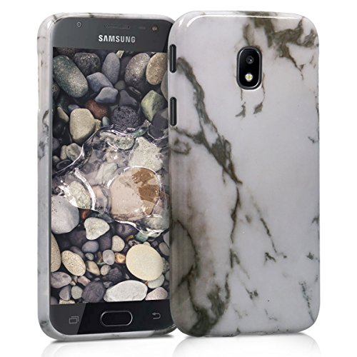 kwmobile Cover Compatibile con Samsung Galaxy J5 (2017) DUOS - Custodia in Silicone TPU - Back Case Cover Protezione Posteriore Cellulare - Marmo Bianco/Nero