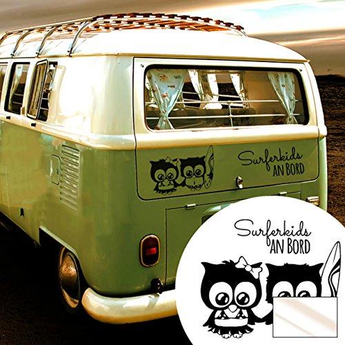 ilka parey wandtattoo-welt Graz Design M1941 Sticker pour vitre arrière de voiture Motif surf chouettes surfeurs sur bord Couleur sélectionnée : verre laiteux Taille sélectionnée XL 32 cm de large x 35 cm de haut