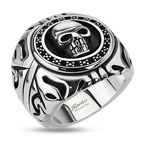 Bungsa 62 (19.7) Totenkopf Ring Herren Silber - Skull Fingerring für Männer - aus Edelstahl - gefasster TOTENSCHÄDEL Siegelring - Größen 60-75 - extra groß & massiv - breiter Ring für Biker