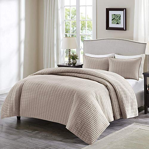 Comfort Spaces Kienna Quilt Coverlet Bedspread Ultra Soft Hypoallergenic All Season Lightweight Filling Stitched Bedding Set, Twin/Twin XL 66'x90', Taupe