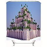 HBZZCL 3D Duschvorhänge Und Badematte Anzug,Cuban Babylon Sky Garden,Waschbar Stoff,Fabrik Wohnaccessoires Inkl 12 Duschvorhangringe-150(W) X180(H) cm