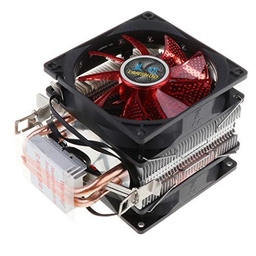 Toygogo Ventilador de Refrigeración Dual Silencioso para CPU, Cable de 4 Pines, 12 LED RGB, Enfriador de CPU - Rojo
