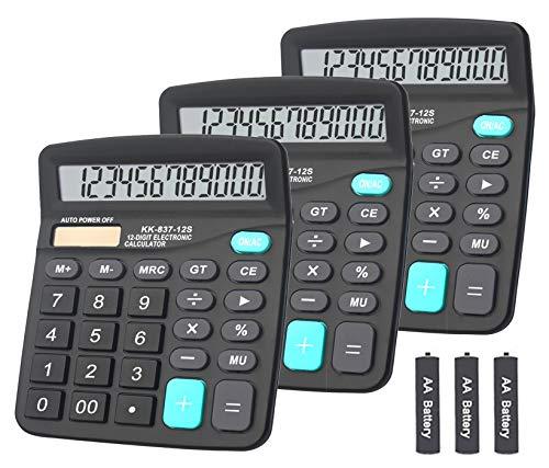 Basic Calculator,BESTWYA 12-Digit Dual Power Handheld Desktop Calculator with Large LCD Display Big Sensitive Button (Black, Pack of 3)