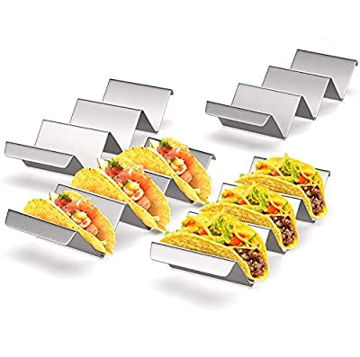 Taco Holder Stand Set of 4 Stainless Steel Taco Tray Stylish Taco Shell Holders Rack Holds Up to 3 Tacos Each Keeping Shells Upright Taco Rack Oven Grill Baking Taco Plates Dishwasher Safe Accessories