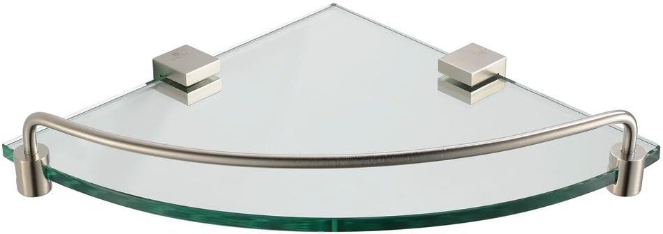 Fresca Bath Fac0448bn Ottimo Corner Glass Shelf Brushed Nickel Brushed Nickel Bathroom Shower Shelf Amazon Com