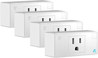 TOPGREENER Smart Mini Wi-Fi Plug with Energy Monitoring, Mini Smart Outlet, Control Lights and Appliances from Anywhere, No Hub Required, Works with Alexa and Google Assistant, TGWF115PQM, 4-Pack