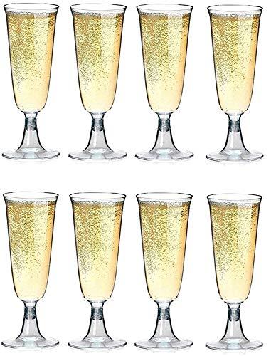 Sektgläser Plastik 50 Stück Einweg Champagnergläser 0,1l Bruchfest - Glasklar - Höhe 16cm