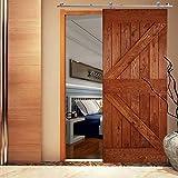 QINAIXQM 4FT/122cm Accesorios para puertas correderas de riel deslizante de acero inoxidable, utilizados para puertas de madera individuales, fáciles de instalar, silenciosos y estables, Form T