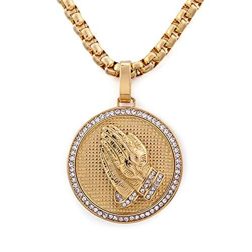 WYPAN Collar de Manos en Oración de Hip Hop, Hombres Y Mujeres Chapado en Oro Real de 18 Quilates, Medalla Milagrosa de Diamantes, Cadena de Oro, Colgante, Regalo de Bisutería,70cm