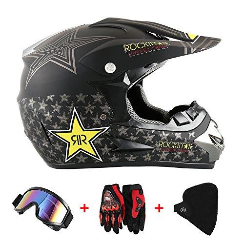 Motocross Helm Motorradhelm Cross Helme Schutzhelm für Motorrad Crossbike Off Road Enduro Sport mit Handschuhe Sturmmaske und Brille 58-59CM (Sterne Gelb)
