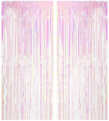 Lauren 2 Pack 3' x 9' Metallic Foil Fringe Door Window Curtain Party Birthday Prom Event Decoration Supplies (Transparent Iridescent)