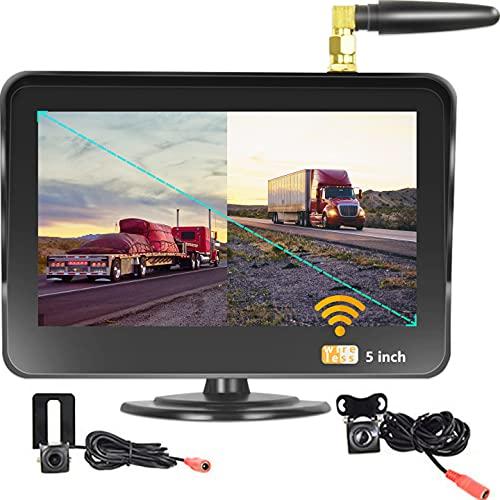 Kit de Cámara de Marcha Atrás con 2 Cámaras de Visión y Monitor de Vehículo HD de 1080P,con Visión Nocturna por Infrarrojos,Cámara de Marcha Atrás Impermeable para Coche,Autobús,Camión