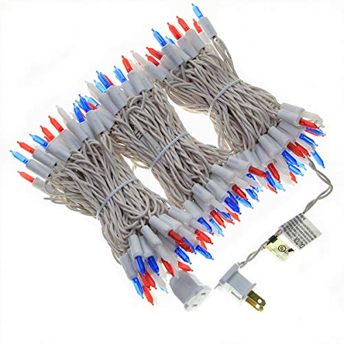 150 Red White and Blue String Lights, White Wire LED Lights String 50 FT, UL Certified Commercial Grade New Always On Mini Lights Set, for National Day, Garden, Patio, Indoor Outdoor Party.