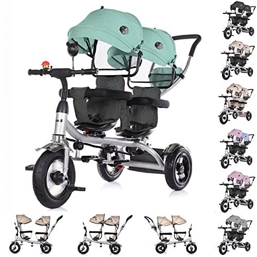 Chipolino Triciclo, 2Play, para Gemelos, neumáticos, Manillar, hasta 50kg, Color:Verde