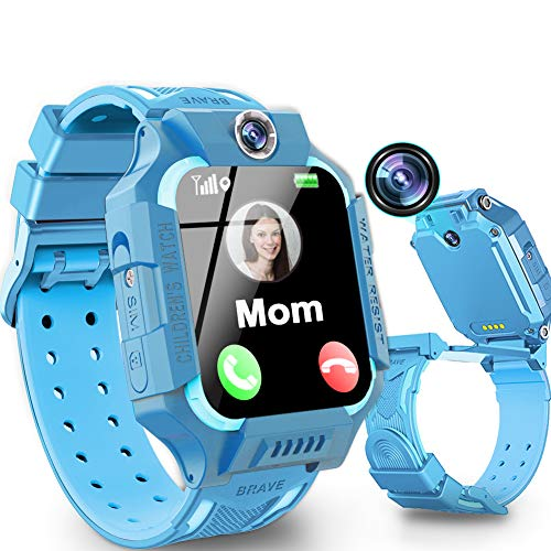 """Kids Smart Watch Phone Waterproof GPS Tracker for Girls Boys 4-12 Age, 360° Rotation Kids Phone Watch with Dual Cameras Calling SOS Emergency Alert 1.5"""" Touch Screen Birthday Gift"""