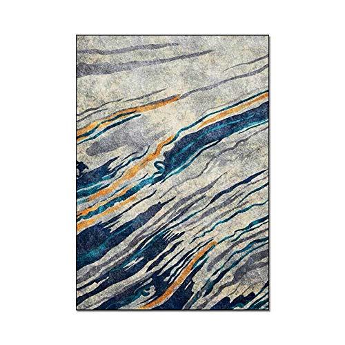HJFGIRL Bett Teppich Große Vintage Ölgemälde Gelb Grau Streifen Textur Druck Teppiche Sofa Waschbar rutschfeste Innen Bodenmatte Für Wohnzimmer Schlafzimmer,100 * 150cm