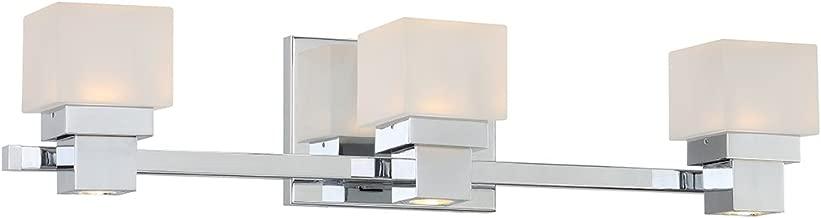 WAC Lighting WS-44522-CH 3 Chrome Kube LED Bath & Wall Light, Opal