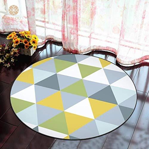 MU Home Living Room Doorway Comodino Tappeto-Fashion 3D Geometria Tondo Tappeto Antiscivolo Facile da maneggiare Macchie Anti-sbiadimento Soggiorno Camera da Letto Appeso Rattan Cestino Sedia da Comp