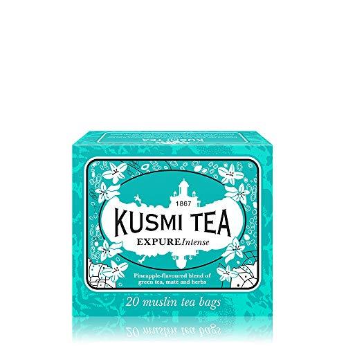 Kusmi Tea – EXPURE Intense – Mischung aus grünem Tee, Mate und Kräutern mit Ananasnoten – kann heiß oder kalt genossen werden – 20 Teebeutel aus Musselin