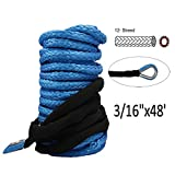 HOOAI Synthetic Winch Rope - 3/16' x 48' Winch Cable Blue Winch Rope 6000+ LBs with Sheath for atvs Winches ATV UTV SUV Truck Boat Ramsey Synthetic Winch Rope