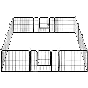 Yaheetech 24-inch Height Heavy Duty Dog Pen – 12 Panel Foldable Portable Metal Dog Pen Dog Exercise Pen Barrier Crate Cage Kennel Portable Cat Duck Chicken Puppy Fence with Door Outdoor & Indoor Black