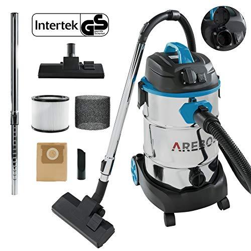 Arebos Industriestaubsauger 1600W | Nass- & Trockensauger | Staubsauger | Industriesauger mit und ohne Beutel | 30L Behälter | Blau