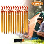 Rovtop 12Pcs Camping Tent Stakes Pegs 18cm Aluminium Alloy with Reflective Rope for Camping,Beach,Outdoor and Sand 2